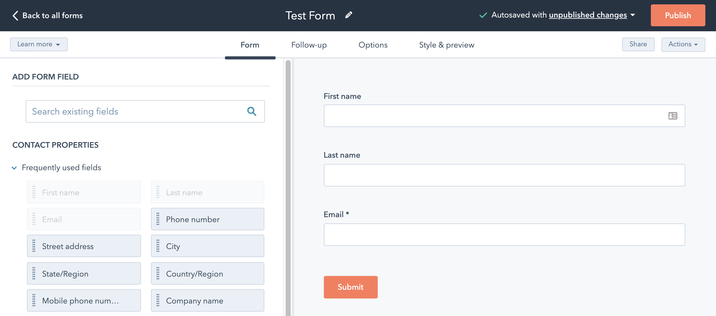 Screen Shot of HubSpot Forms Tool showing First Name, Last Name and Email form boxes