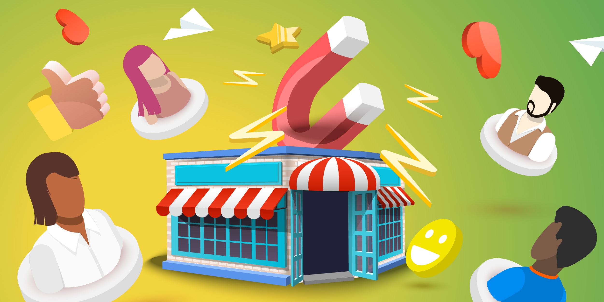 Illustration of a storefront with a magnet coming out of the top attracting people towards it, symbolizing inbound marketing.