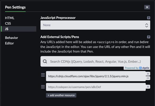 CodePen JavaScript settings