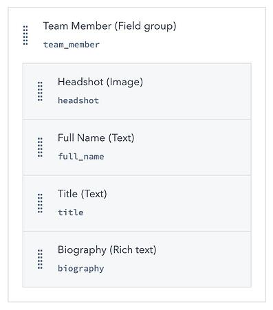 Screenshot of field group