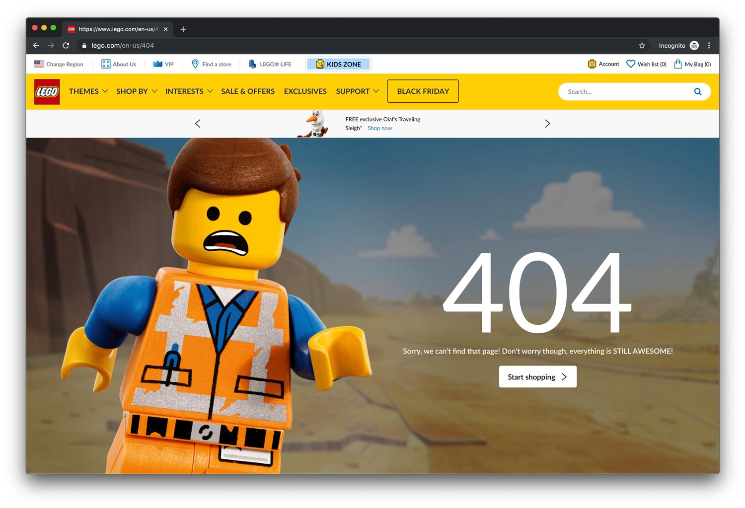 Screenshot of the Lego 404 page