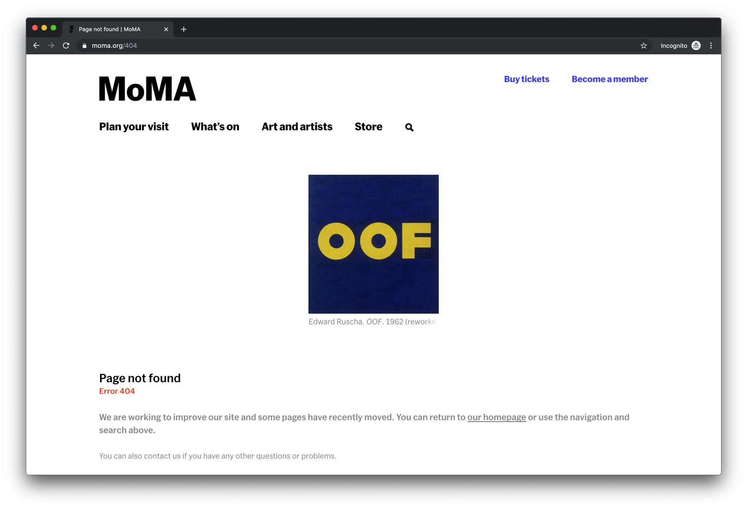 Screenshot of the MoMA 404 page