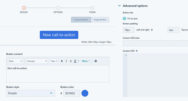 Screenshot of HubSpot CTA Builder