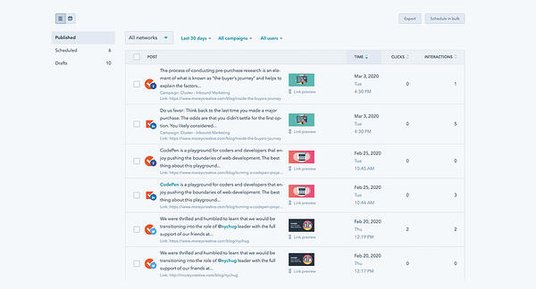 Screenshot of HubSpot Social Media Sharing Tool