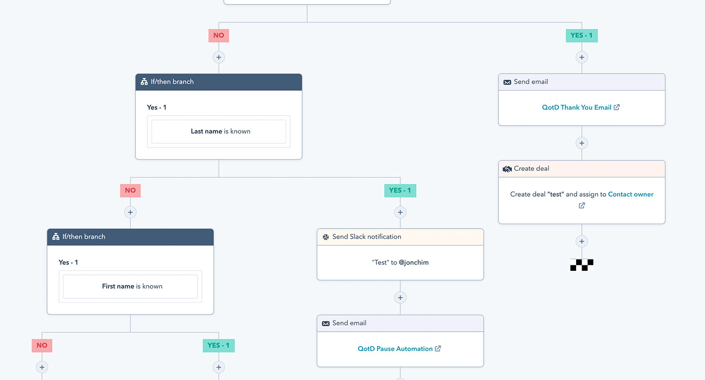 Screenshot of HubSpot's Workflow Tool