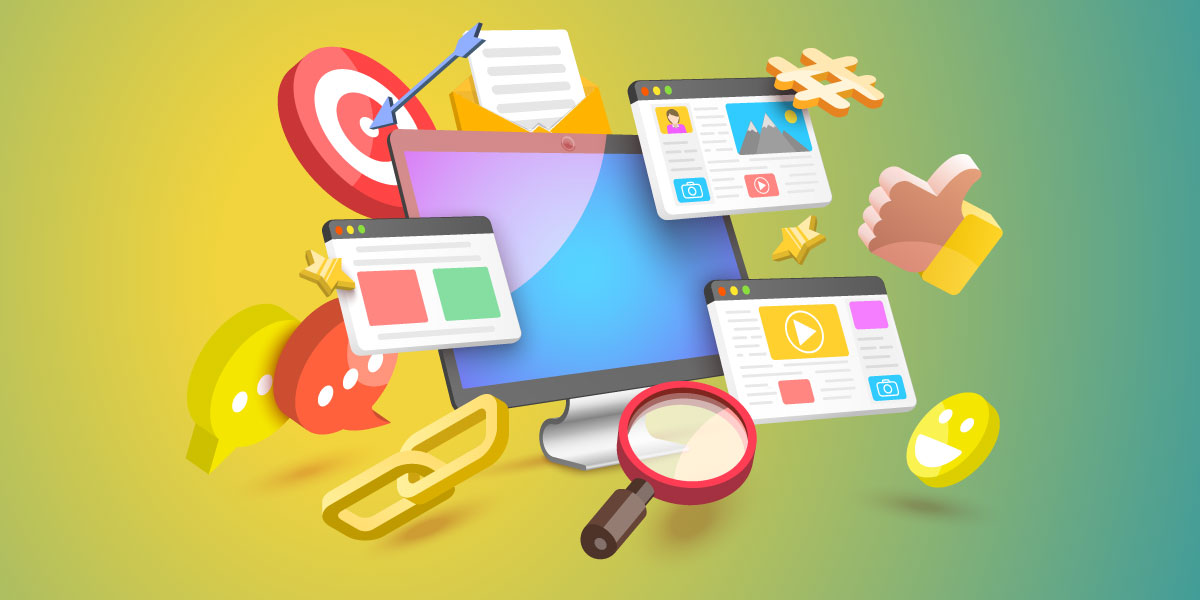 Illustration of a computer with an email, magnifying glass, thumbs up, bullseye and text message icons aruond it