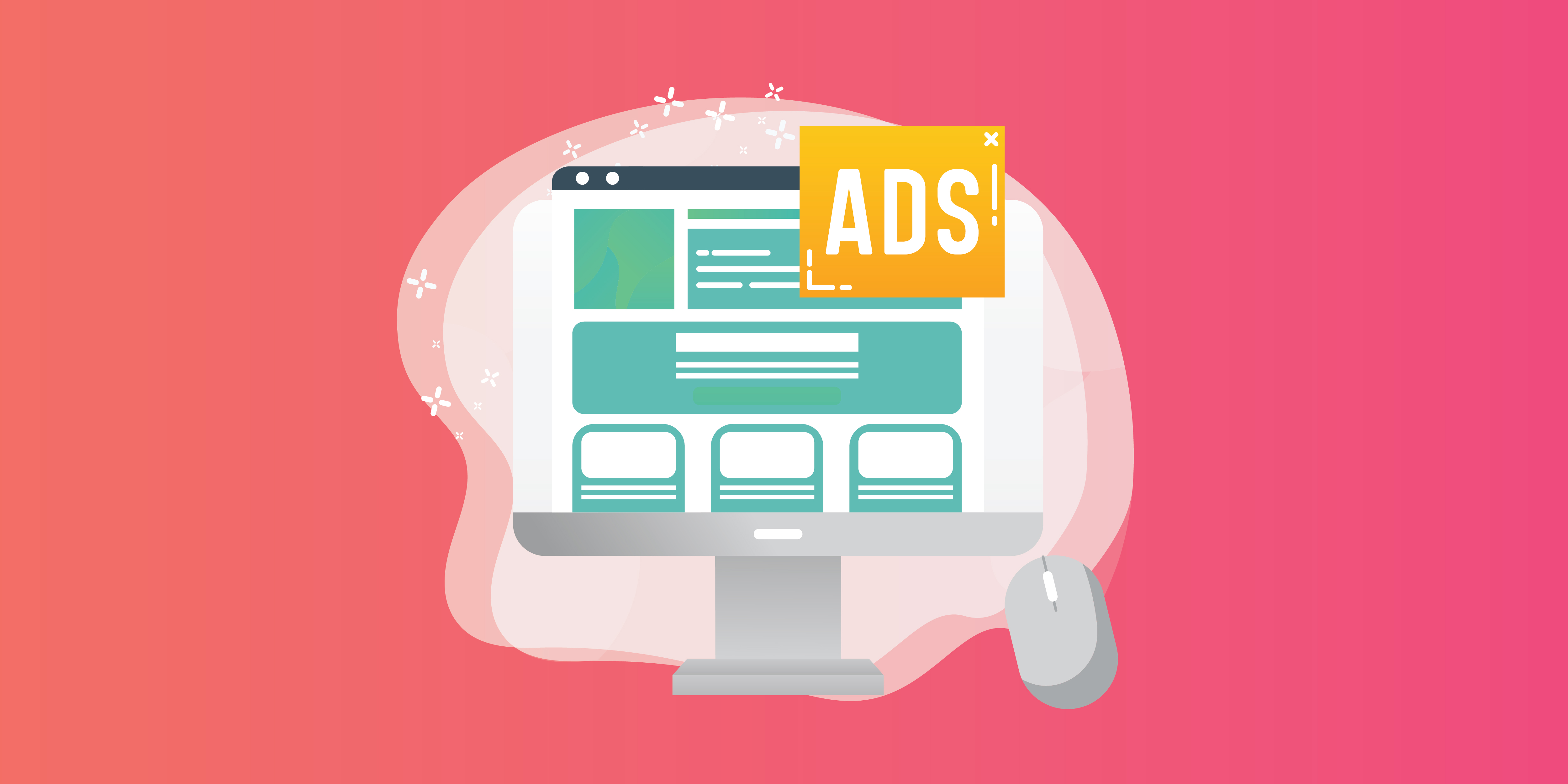 Illustration of desktop computer and mouse with a webpage on the computerscreen and a word bubble that says Ads