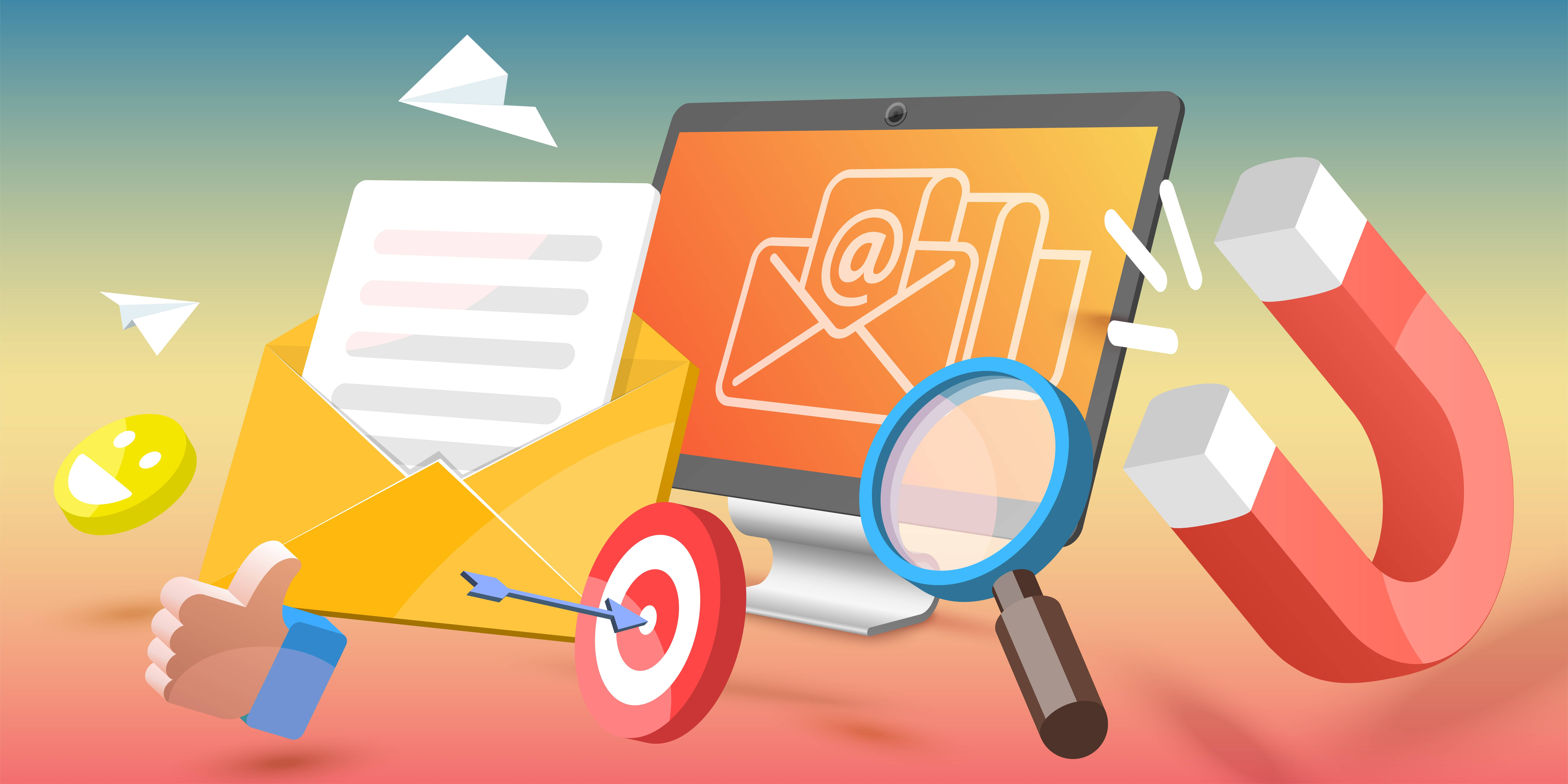 Illustration symbolizing inbound marketing. A computer, magnifying glass, magnet, envelope, target and arrow, thumbs up, smiley face and paper airplanes cover the image