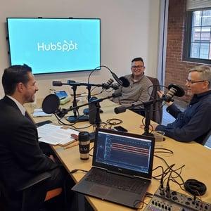 Jed Morey, Jon Sasala and Brian Halligan at HubSpot HQ