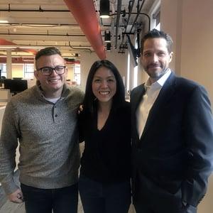 Jon Sasala, Katie Ng-Mak and Jed Morey at HubSpot HQ