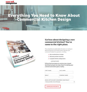 Sam Tell Companies Commercial Kitchen Design eBook Landing Page