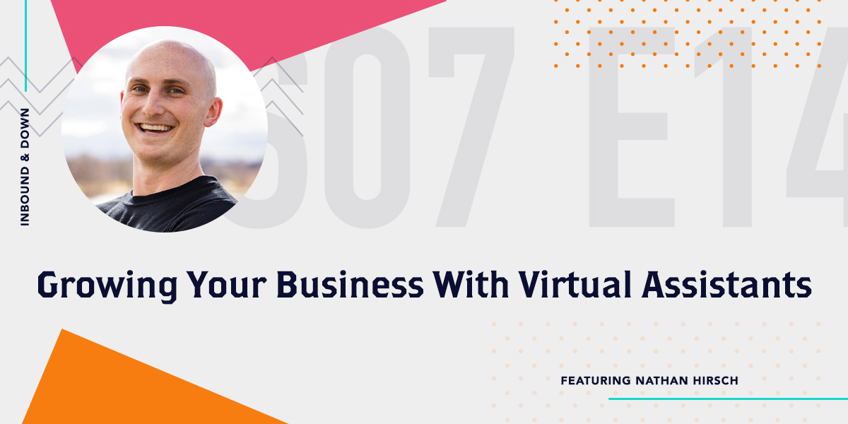 Inbound & Down Podcast- Purple text that says S 07 E 14 Growing Your Business With Virtual Assistants featuring Outsource Schools Nathan Hirsch with a photo of Nathan Hirsch