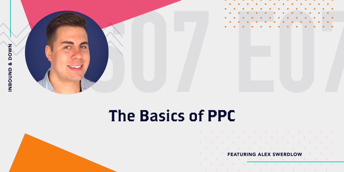 Inbound & Down Podcast- Purple text that says S07 E07 The Basics of PPC featuring Alex Swerdlow with a photo of Alex Swerdlow