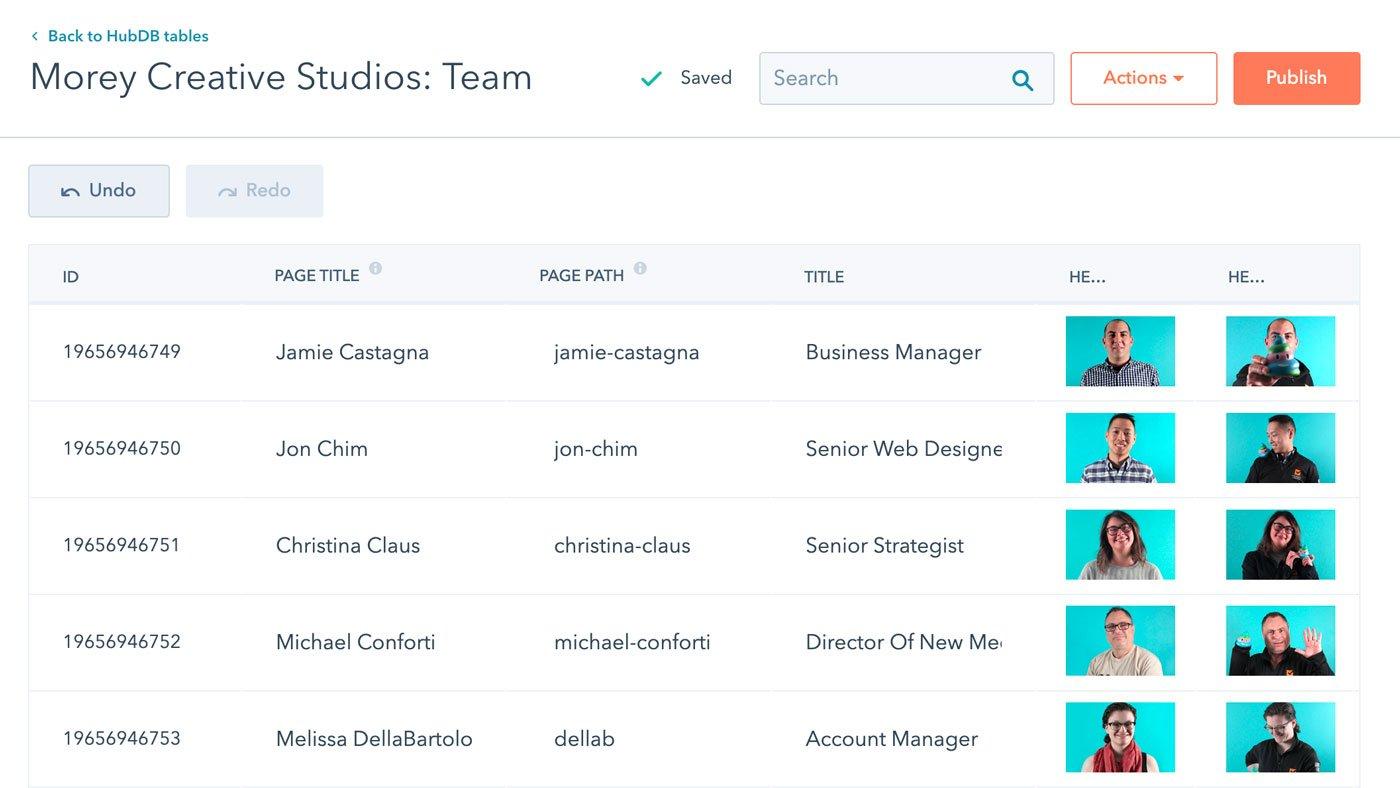 Screenshot of the Morey Team HubDB table