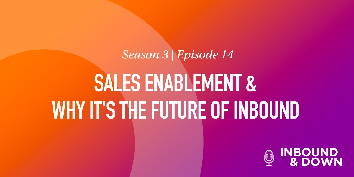 White text that says Season 3 Episode 14: Sales Enablement & Why It's the Future of Inbound on an orange and purple gradient background