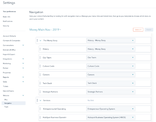 Screenshot of Advanced Menus Tool in HubSpot