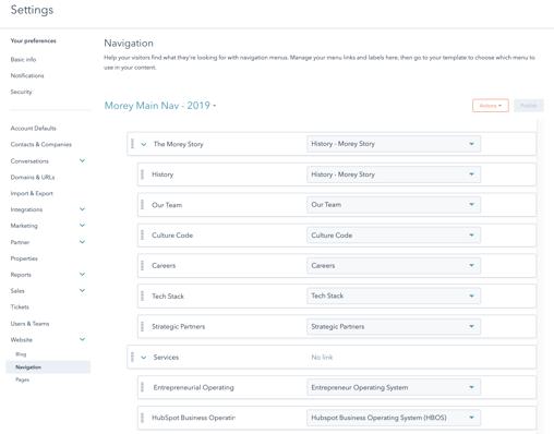Screenshot of Advanced Menus Tool in HubSpot
