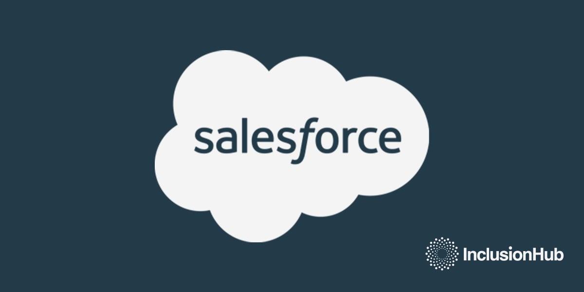 White salesforce logo and white InclusionHub logo on a dark blueish gray background