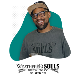 Photo of Marcus Baskerville and Weathered Souls Logo
