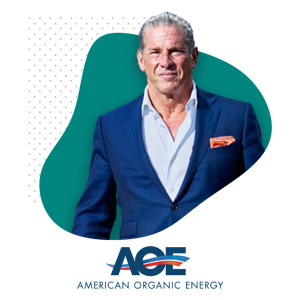 Photo of Charles Vigliotti and American Organic Energy Logo