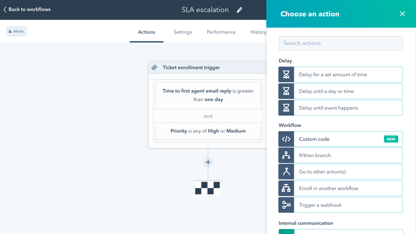 programmable automation screenshot of automation tool in HubSpot with multiple automation steps implemented