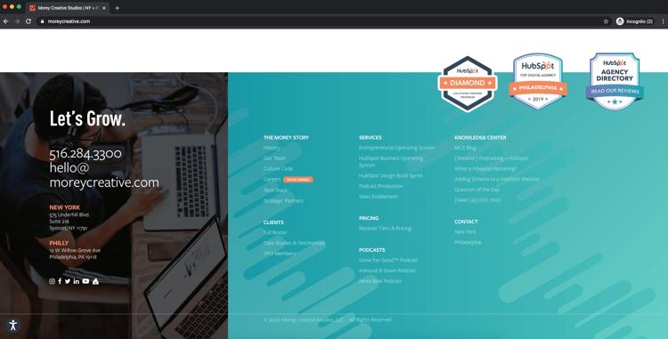 Morey Creative Studios website NAP