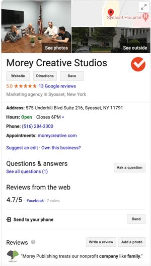 morey creative new york google my business