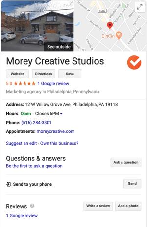 morey creative philadelphia google my business