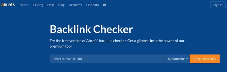AHREFS backlink checker for SEO