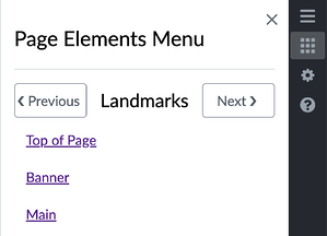 Screenshot of AudioEye Page Elements Menu