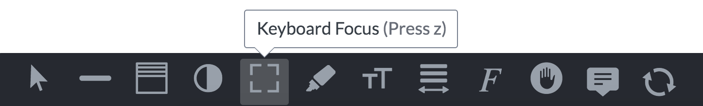 Screenshot of AudioEye Visual Toolbar with keyboard focus selected