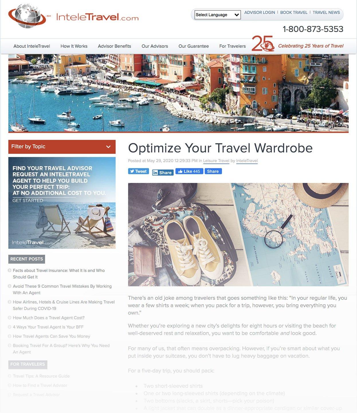 Screenshot of InteleTravel Blog Called Optimize Your Travel Wardrobe