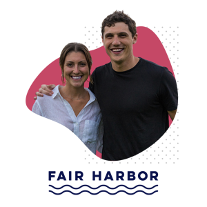 Caroline and Jake Danehy and Fair Harbor Logo