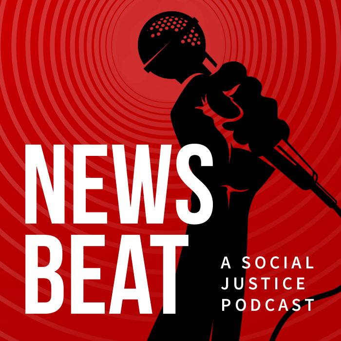 News Beat Album Artwork: Red background with black silhouetted fist holding microphone. Text says