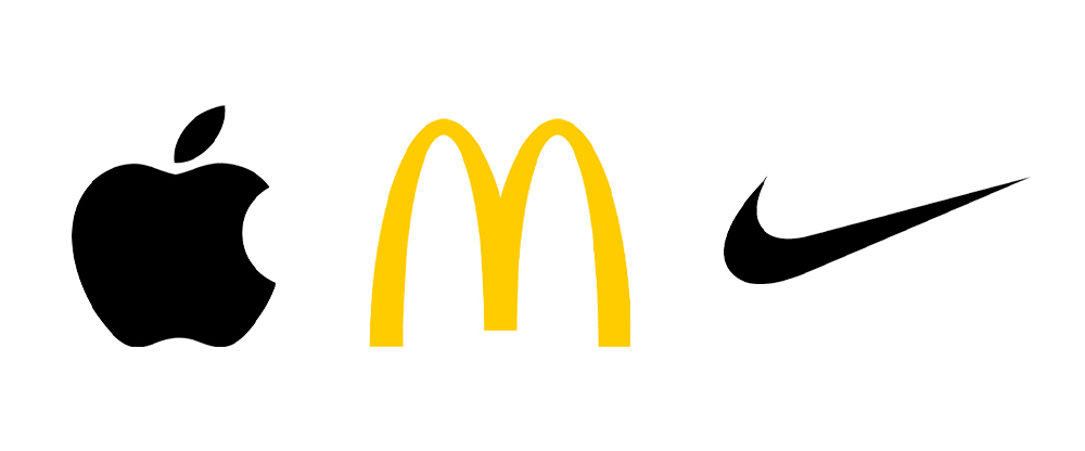Apple, McDonalds, and Nike logos, respectively