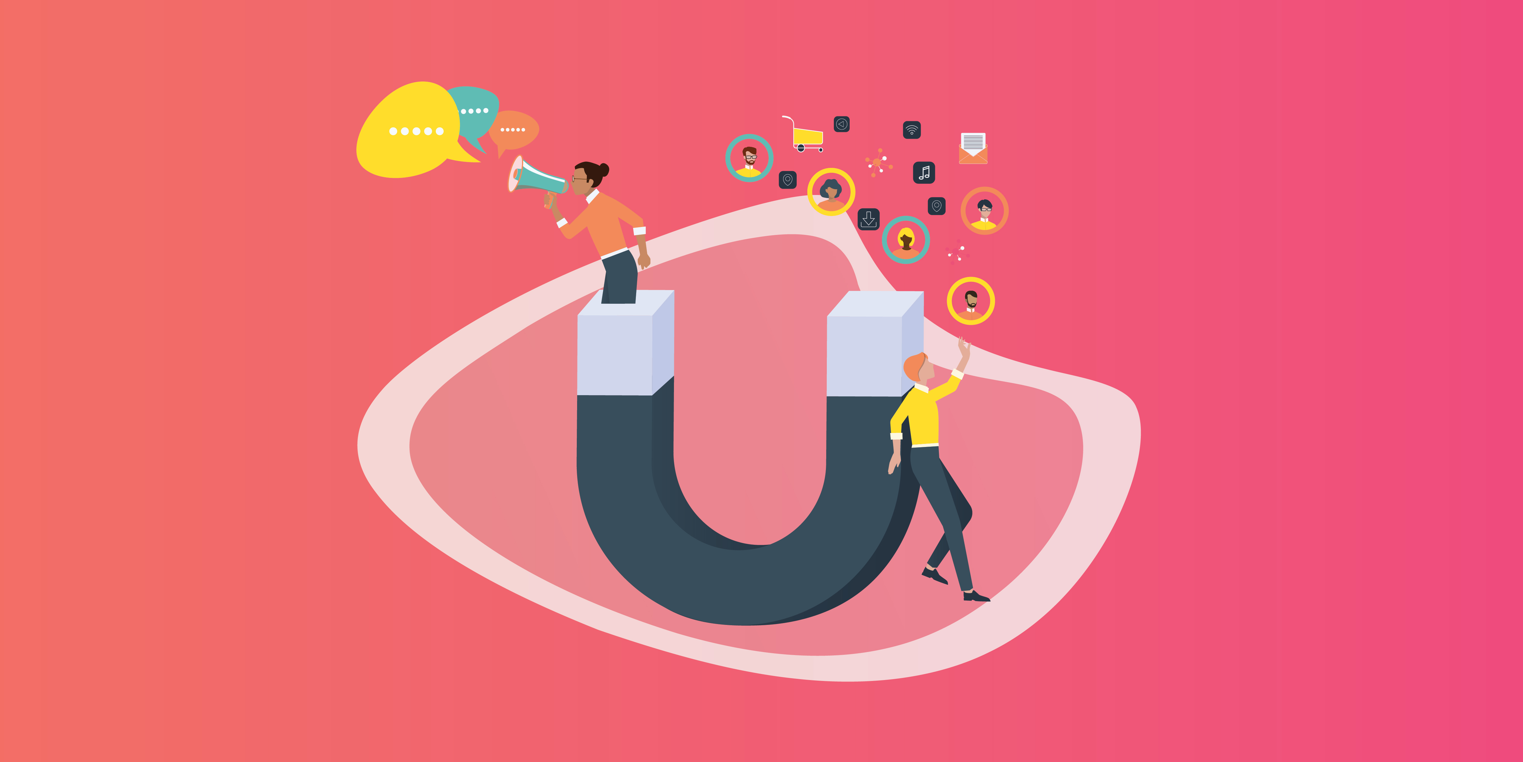 Inbound Marketing Graphic featuring people standing on the magnet