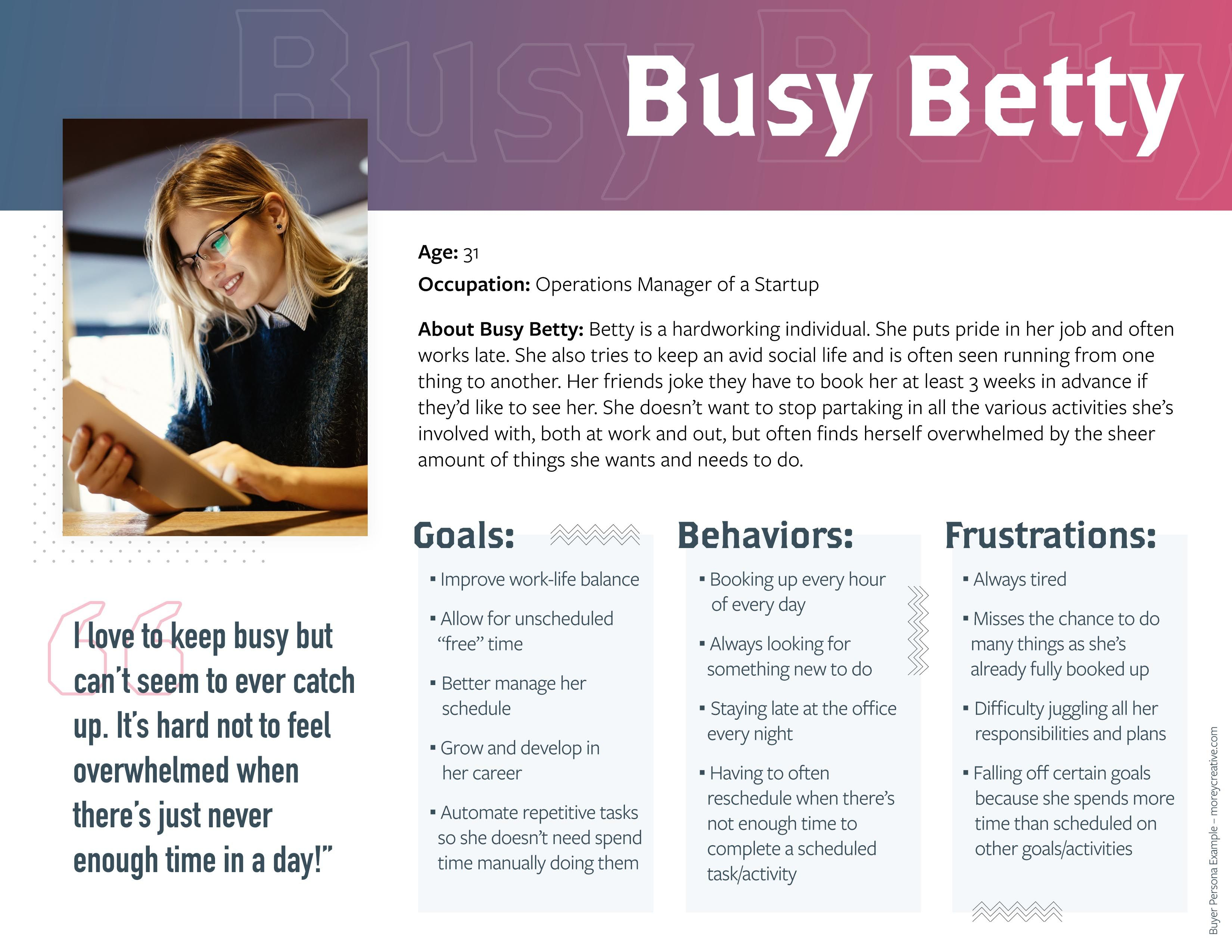 Busy Betty Buyer Persona Example