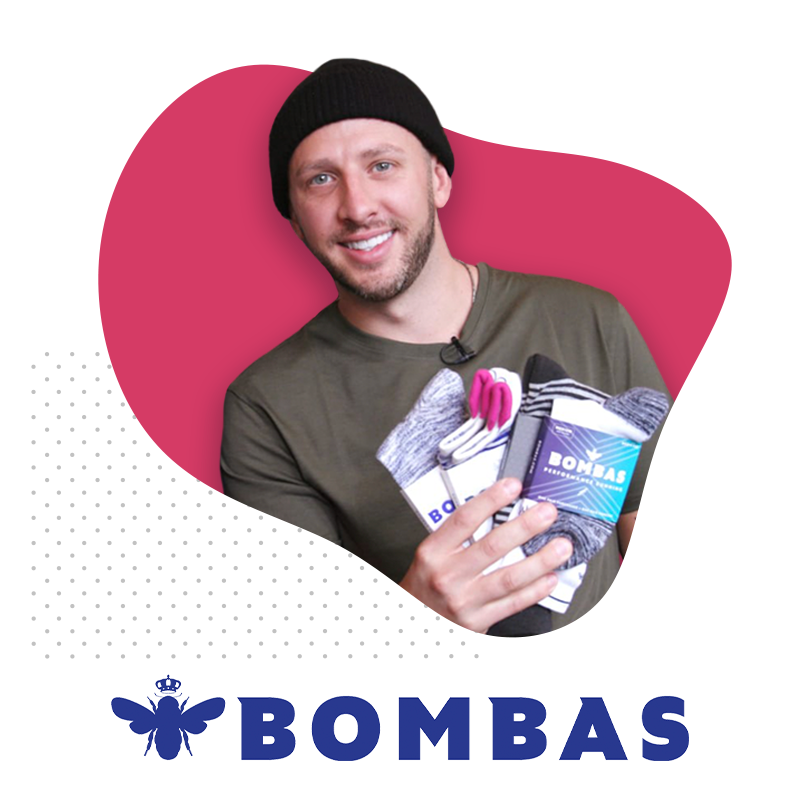 Photo of Dave Heath and Bombas Logo