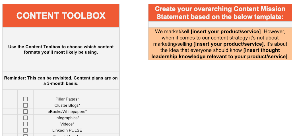 content toolbox chart