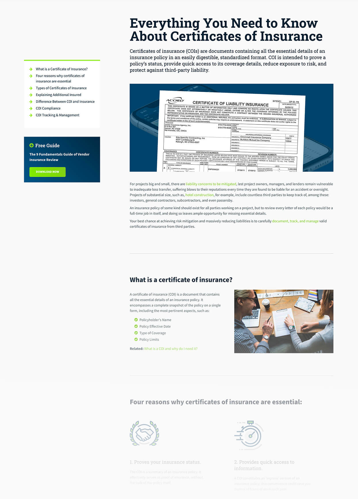 Screenshot of BCS Everything You Need to Know About Certificates of Insurance Pillar