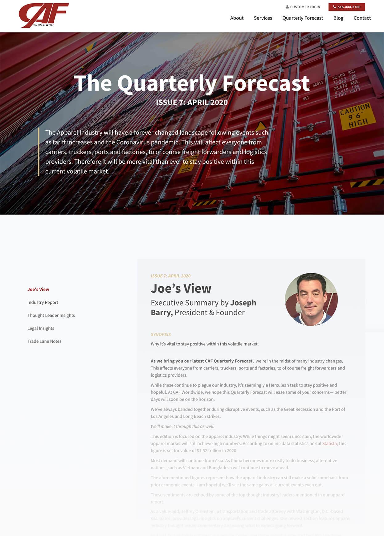 Screenshot of CAF Quarterly Forecast Issue 7 Pillar Page