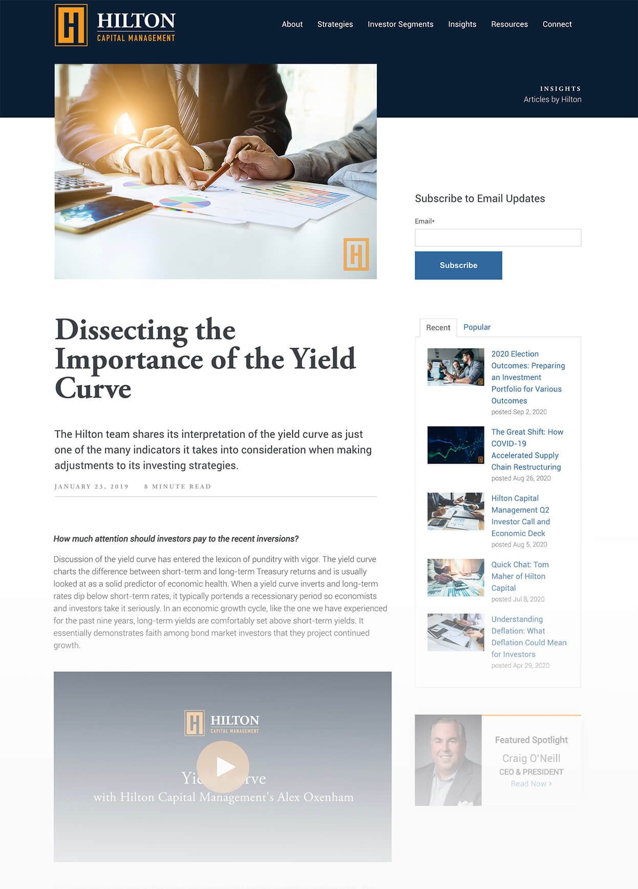 Screenshot of Hilton Capital Management Dissecting the Importance of the Yield Curve Pillar Page