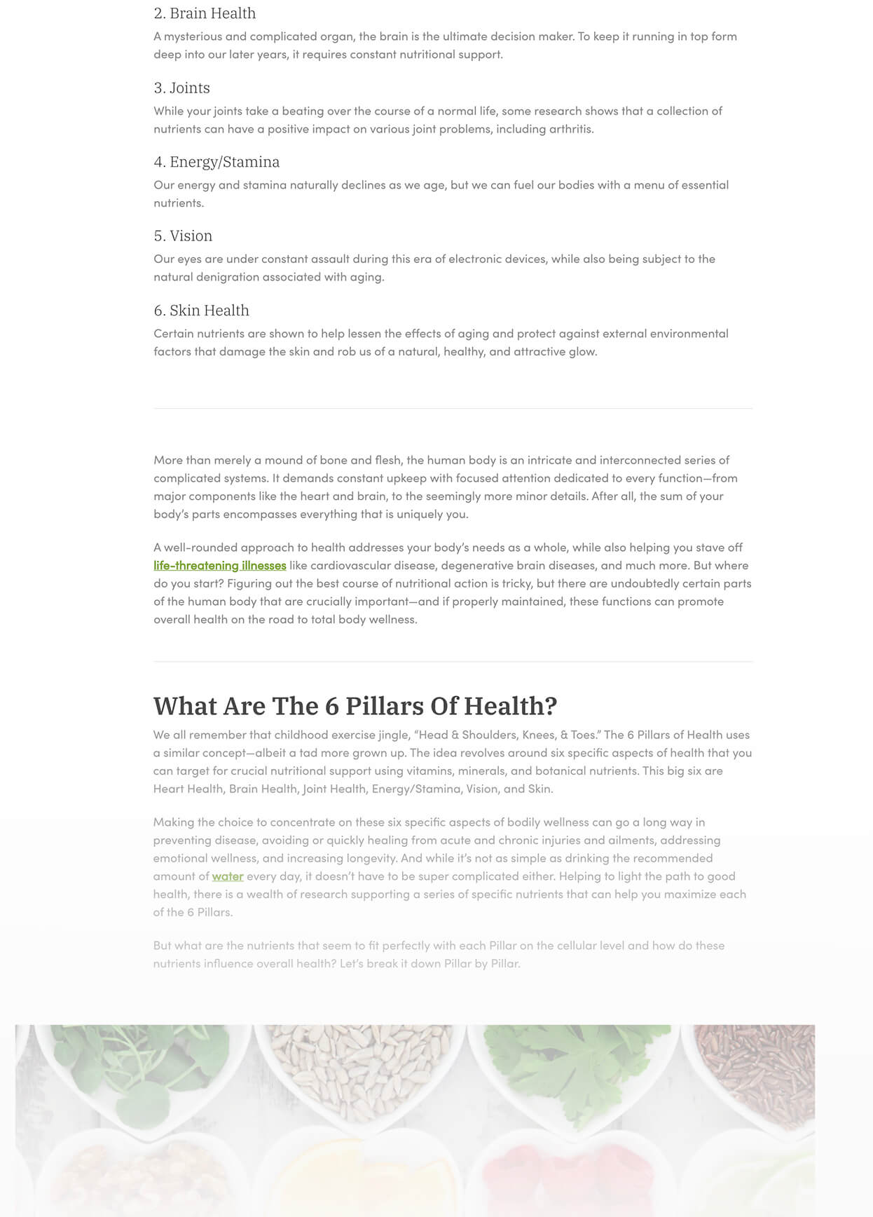 Screenshot of Purity Products The 6 Pillars Of Smart Nutrition Pillar 2