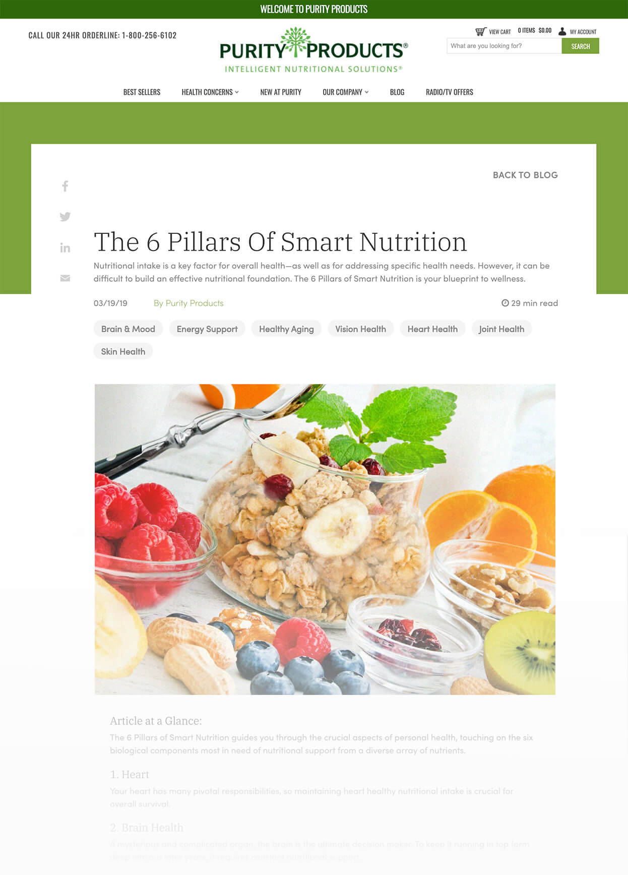 Screenshot of Purity Products The 6 Pillars Of Smart Nutrition Pillar