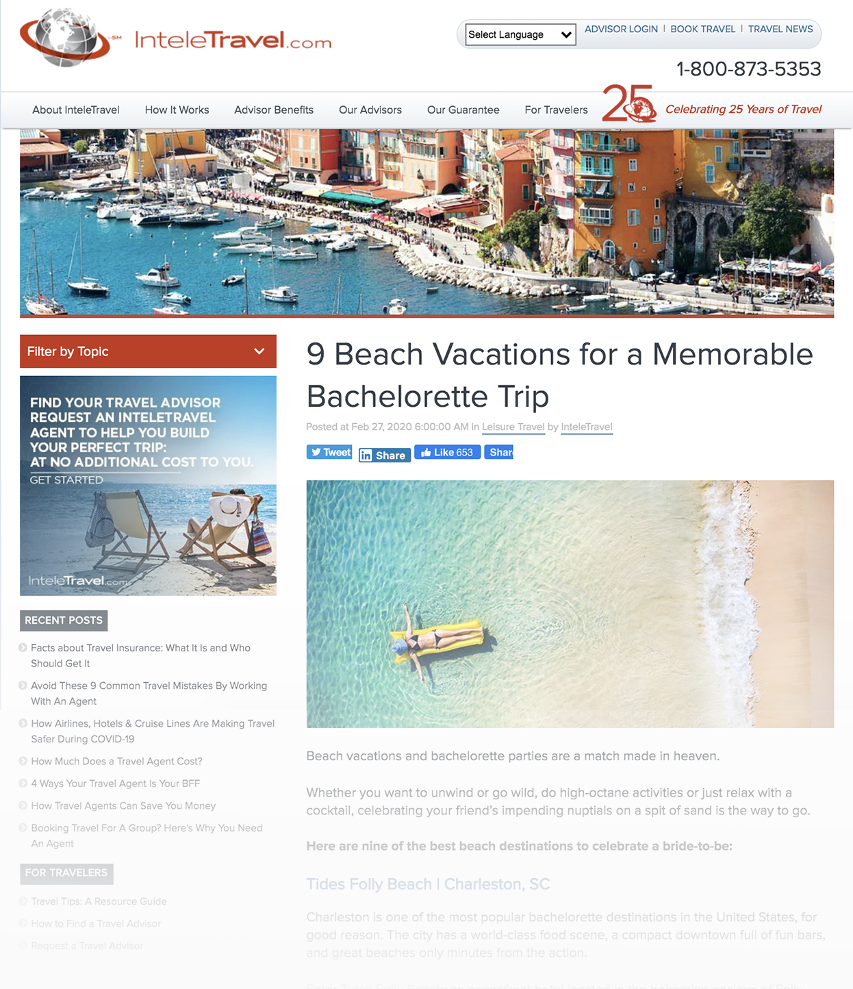 Screenchot of InteleTravel Blog Called 9 Beach Vacations for a Memorable Bachelorette Trip