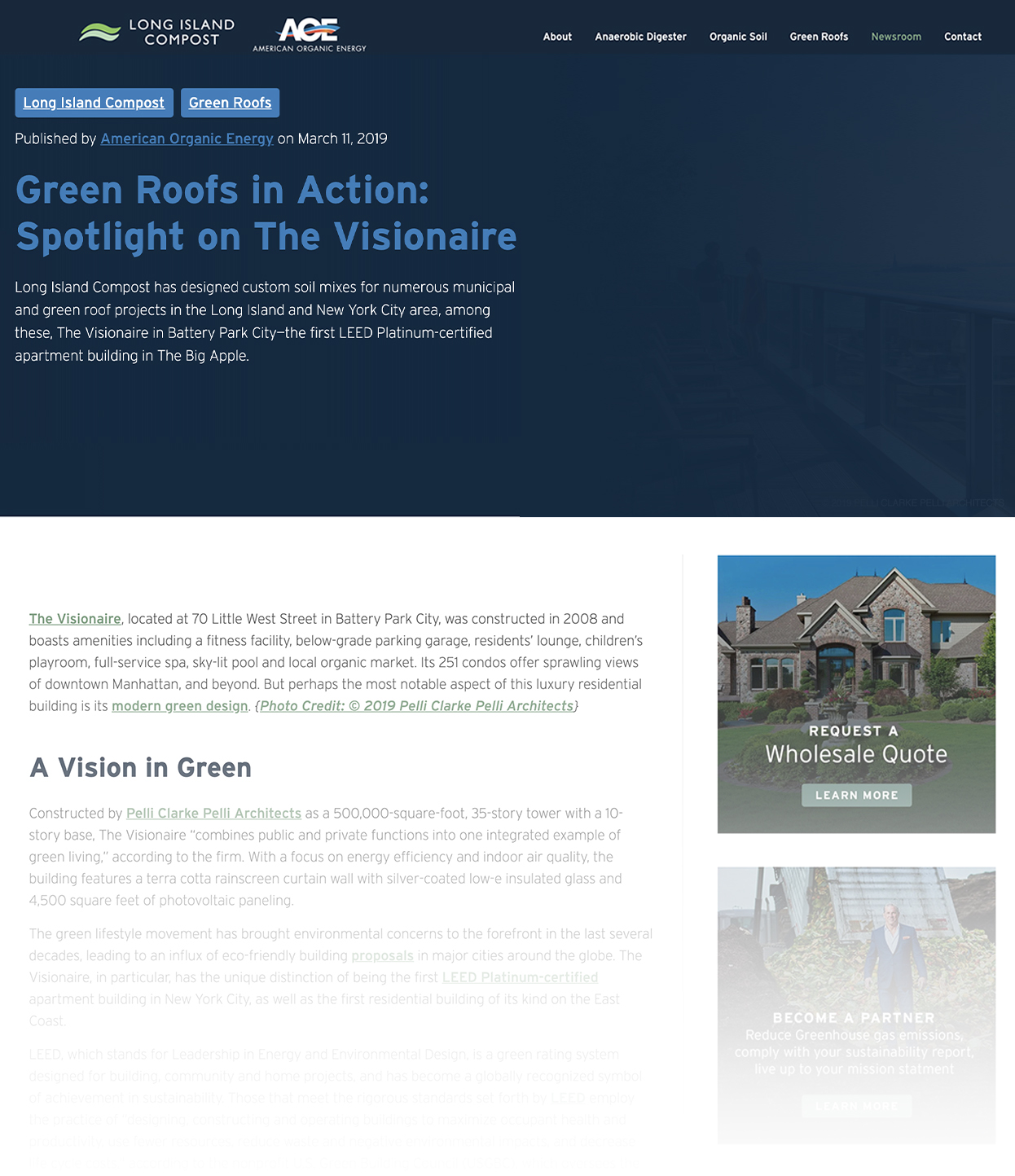 Screenshot of American Organic Energy Blog Called Green Roofs in Action Spotlight on The Visionaire