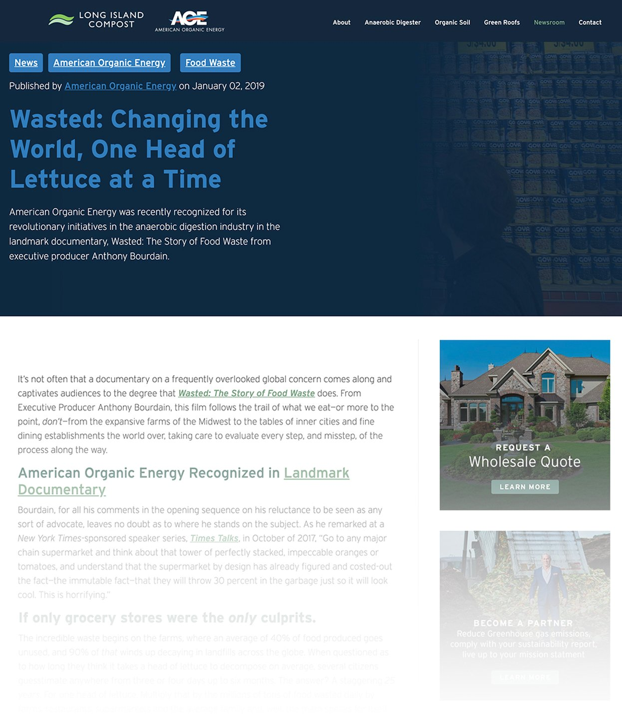 Screenshot of American Organic Energy Blog Called Wasted-Changing the World, One Head of Lettuce at a Time