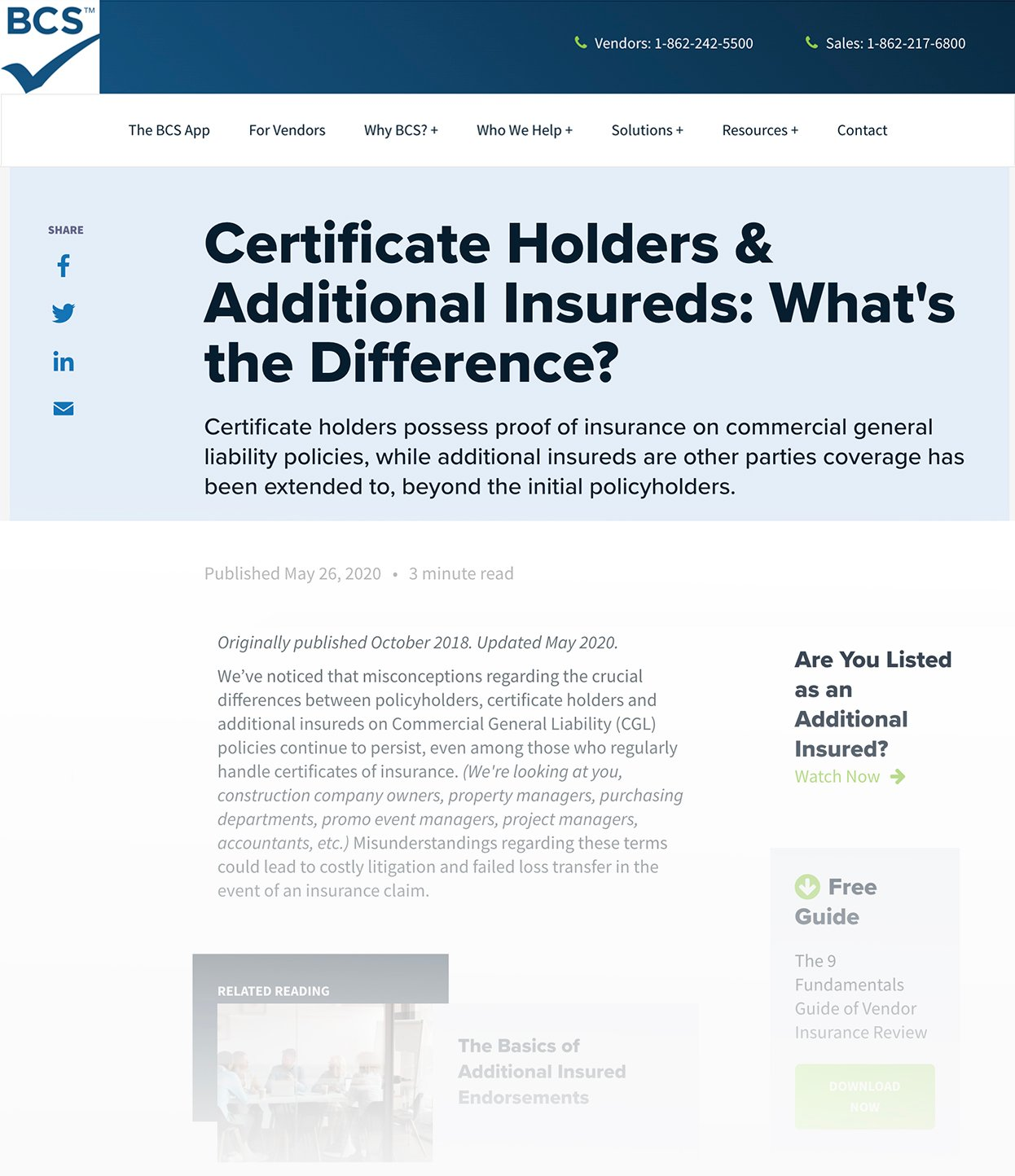 Screenshot of BCS Blog Called Certificate Holders & Additional Insureds- Whats the Difference?