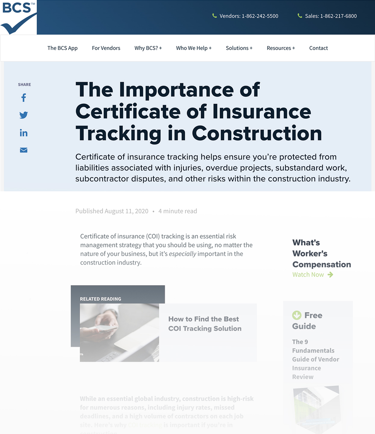 Screenshot of BCS Blog Called The Importance of Certificate of Insurance Tracking in Construction