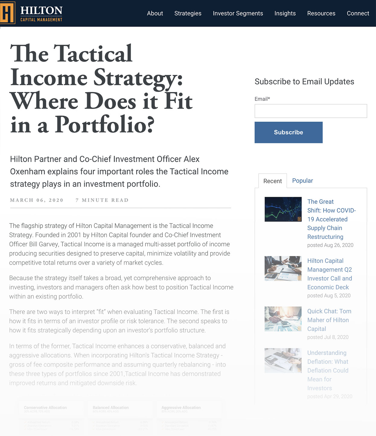 Screenshot of Hilton Capital Management Blog Called The Tactical Income Strategy- Where Does it Fit in a Portfolio